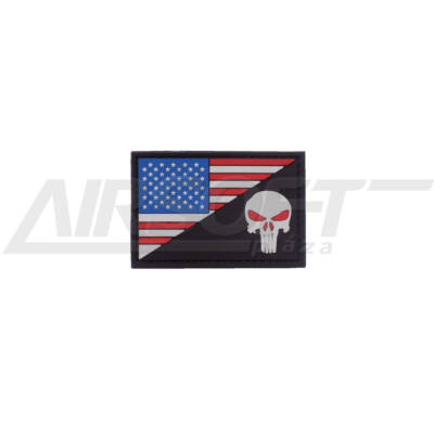 3D PVC PATCH -  AMERICAN SKULL - RED