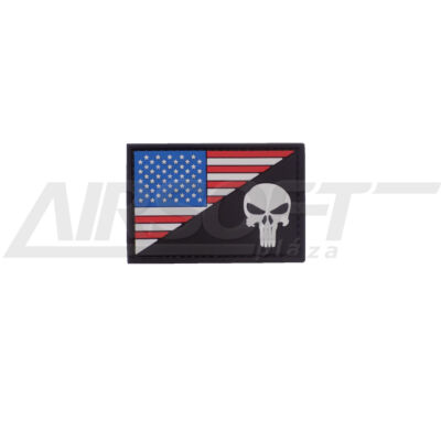 3D PVC PATCH -  AMERICAN SKULL - BLACK