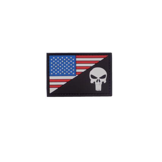 3D PVC PATCH -  AMERICAN SKULL - BLACK