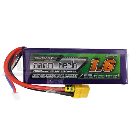 Turnigy nano-tech 1600mah 4S 25-50C Lipo Airsoft akkumulátor N1600.4S.25